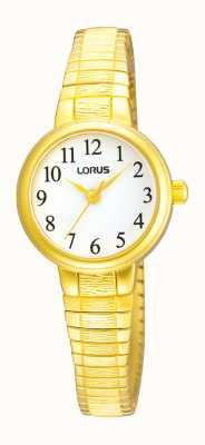 Lorus Cadran blanc montre en or ton d'extension de dames RRS34TX9