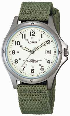 Lorus analogique Hommes toile verte montre bracelet RXD425L8