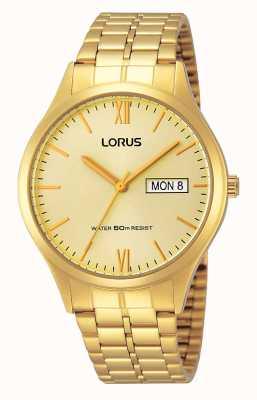 Lorus Mens tout montre en or avec le jour et la date RXN04DX9