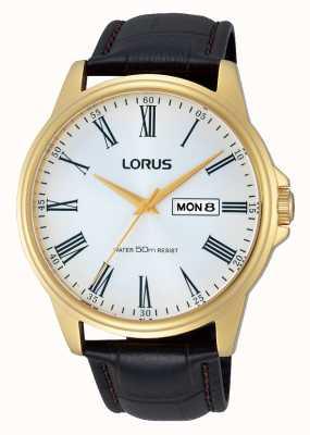 Lorus Mens bracelet en cuir brun montre la date de la journée RXN10DX9