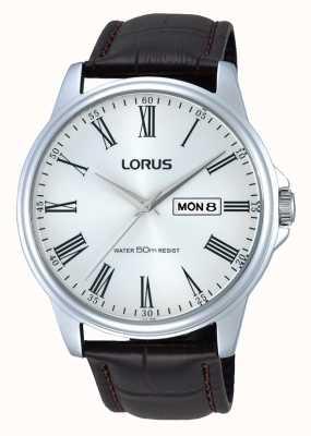 Lorus Montre bracelet en cuir marron en acier inoxydable RXN11DX9