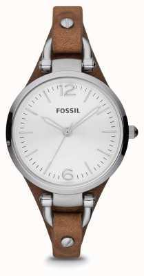 Fossil Mesdames cuir brun Montre en acier inoxydable ES3060