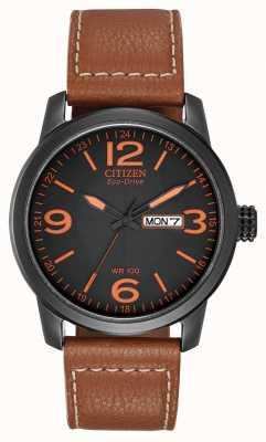 Citizen Éco-conduite pour hommes | chandler cuir marron militaire BM8475-26E