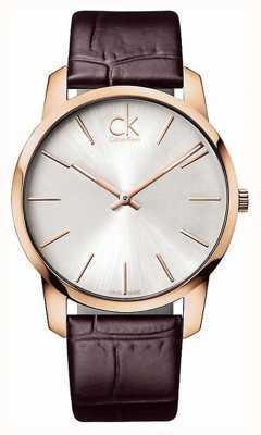 Calvin Klein Gents cadran argenté boîtier en or rose K2G21629
