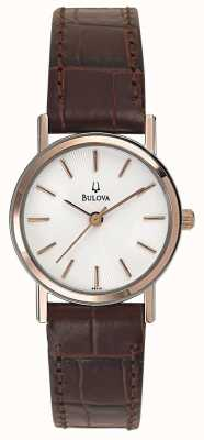 Bulova Ladies or rose avec bracelet en cuir brun 98V31