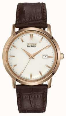 Citizen Mens ton or cuir marron bracelet eco-drive BM7193-07B