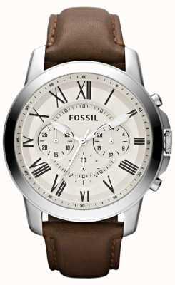 Fossil Mens bracelet en cuir de chronographe FS4735