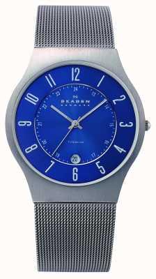 Skagen Mens cadran bleu titane montre bracelet cas de maille 233XLTTN