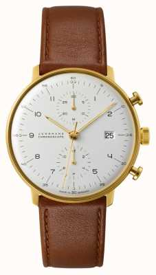 Junghans Max Bill Chronoscope Bracelet en cuir marron 027/7800.04