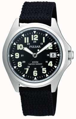Pulsar Mens toile noire montre bracelet PS9045X1