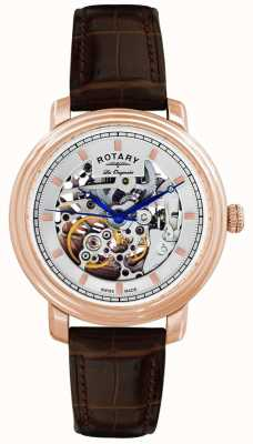 Montre bracelet cuir marron h Les Originales Rotary GS90505/06