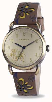 Kahuna Brown & Ladies motif floral bracelet en cuir de coupe vert KLS-0248L