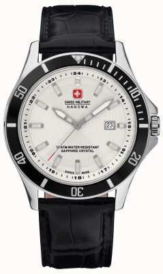 Swiss Military Hanowa Mens phare cadran blanc lunette noir et bracelet en cuir 6-4161.2.04.001.07
