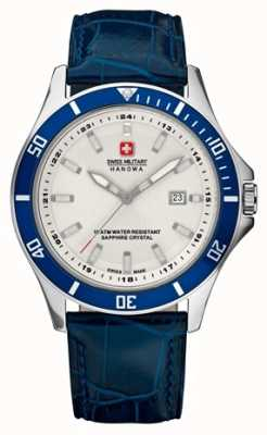 Swiss Military Hanowa Mens phare cadran blanc bleu lunette et bracelet en cuir 6-4161.2.04.001.03