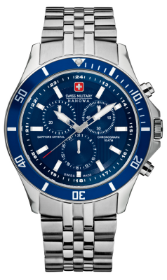 Swiss Military Hanowa Mens phare cadran bleu chronographe en acier inoxydable 6-5183.7.04.003