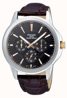 Pulsar Mens en acier inoxydable cadran noir bracelet brun croc-modèle PP6019X1