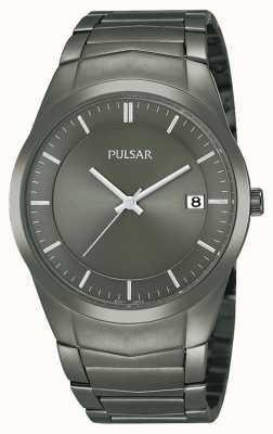 Pulsar Mens ion plaqué acier inoxydable cadran noir montre PS9153X1