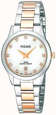 Pulsar Deux tons des dames, cadran en nacre, cristal-set montre PH7313X1