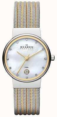 Skagen Deux tons des dames, cadran en nacre, cristal montre de lunette sertie 355SSGS