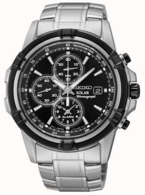 Seiko Mens cadran noir en acier inoxydable énergie solaire chronographe SSC147P1