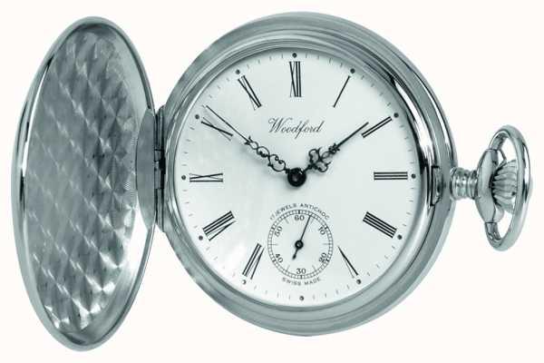 Woodford Chrome, cadran blanc, plein chasseur, montre de poche mécanique 1061