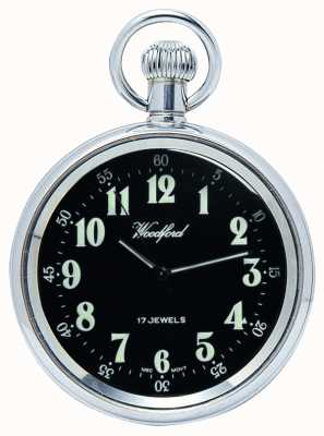 Woodford Mécanique, montre de poche en plein visage, en acier inoxydable, cadran noir 1040