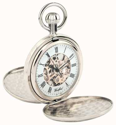 Woodford Montre de poche squelette en métal chromé Full Hunter 1062