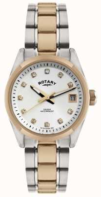 Rotary Montre d 2 tons Kenneth Cole cadran blanc/cristaux LB02662/02