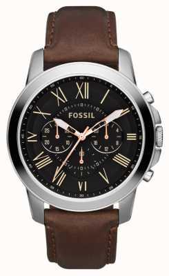 Fossil Mens cadran noir en acier inoxydable cuir marron bracelet chrono FS4813