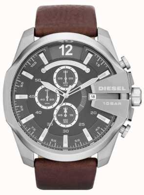 Diesel Mens méga chef cadran gris bracelet en cuir brun chronographe DZ4290