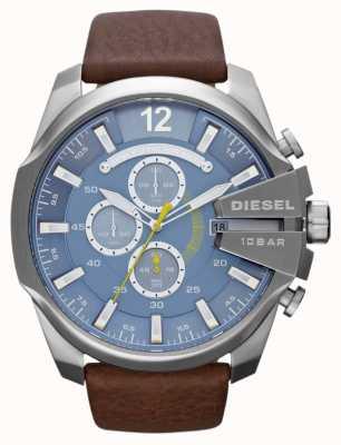 Diesel Mens mega chef cadran bleu cuir marron bracelet chronographe DZ4281