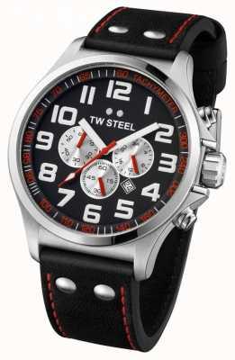 TW Steel Homme pilote en acier inoxydable noir et rouge chrono TW0415
