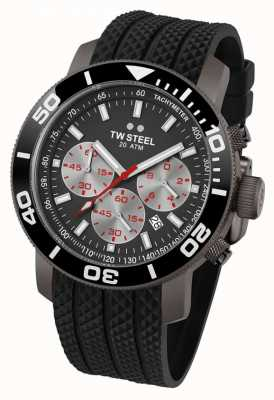 TW Steel Cadran gris homme lunette noire bracelet en caoutchouc chrono TW0705