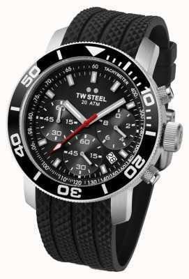 TW Steel Mens en acier inoxydable cadran noir caoutchouc bracelet noir chrono TW0700