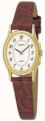 Pulsar Plaque d'or de dames, cadran blanc ovale, montre en cuir brun PPGD68X1