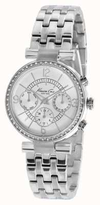 Kenneth Cole cadran argenté en acier inoxydable des femmes de montre de cristal mis KC4872