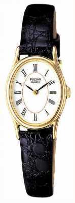 Pulsar Plaque d'or de dames, cadran blanc ovale, montre en cuir noir PPGD64X1
