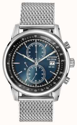Citizen Acier inoxydable pour hommes, cadran bleu, bracelet de montre en maille CA0331-56L