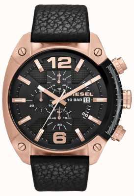 Diesel Mens overflow or rose cadran noir cuir noir montre bracelet DZ4297