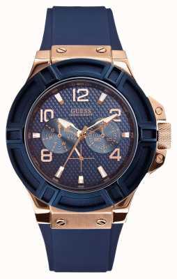 Guess Mens rigueur bleu et rose-or montre W0247G3