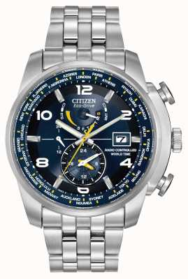 Citizen Radio contrôlé le temps du monde bleu cadran en acier inoxydable AT9010-52L