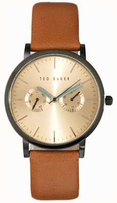 Ted Baker Mens cadran multiple cuir brun cadran en or montre TE1094