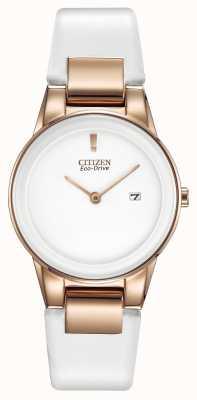 Citizen L'axiome de dames, plaqué or, blanc céramique, bracelet de montre en cuir GA1053-01A