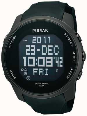 Pulsar Mens numérique ion acier plaqué caoutchouc noir montre bracelet PQ2011X1