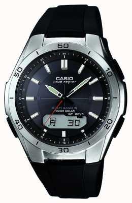 Casio Mens wave ceptor bracelet en caoutchouc noir montre en acier inoxydable WVA-M640-1AER