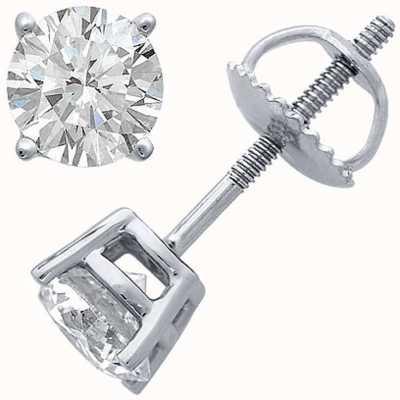 Certified Diamond Boucles d'oreilles, quatre griffes 0.66ct h si, vis raccords de retour C66PT-4CLAW-HSI