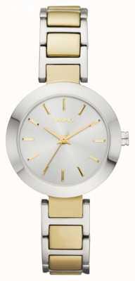 DKNY Deux tons, cadran, bracelet de montre bracelet ronde de dames NY2401
