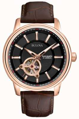 Bulova Mens automatique en or rose brun montre bracelet en cuir 97A109