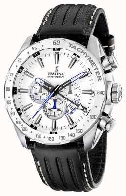 Festina Mens en acier inoxydable cadran blanc bracelet en cuir noir chrono F16489/1