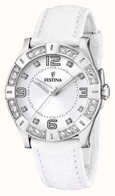 Montre femme Festina acier inoxydable, cristaux incrusté, blanc F16537/1